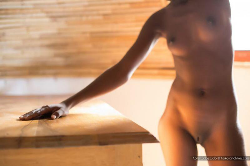 Голая негритянка показывает шоколадное тело на чердаке дома - секс порно фото